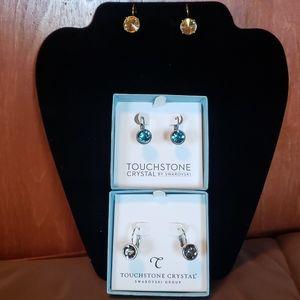Swarovski earrings, topaz, blue, smokey black.
